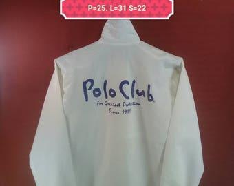 Vintage Polo Club Long Jacket Windbreaker Big Logo Back Sweater Button Down Parka White Colour Size L Polo Ralph Lauren Nike Windbreaker