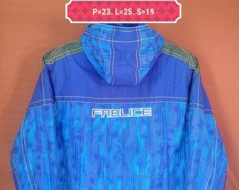 Vintage Fablice Ski Jacket Hooded Parka Spellout Abstract Blue Neon Windbreaker Multicolour Size 160 Phenix Ellesse Descente Ski Jacket Puff