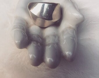 Vintage Chunky Modernist Sterling Silver Heavy Asymmetrical Cigar Band Ring