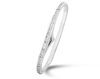 Dual Finger Ring, Stylish Diamond Ring, White Gold Party Ring