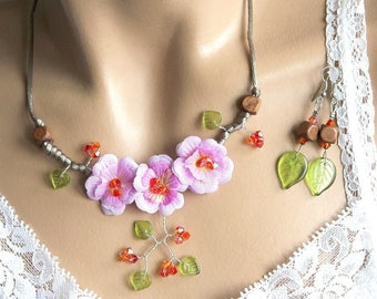 Set three lilac flowers artificial Fireopal Crystal tops