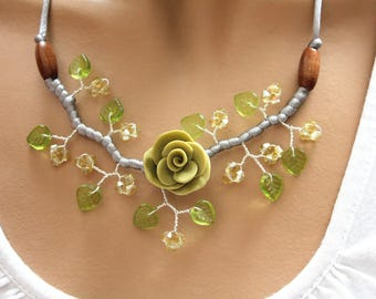 Yellow Topaz tops and khaki Flower necklace