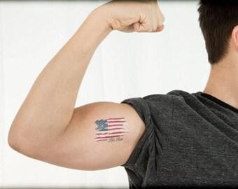 Let's Roll Temporary Tattoo, American Flag Tattoo, Patriotic Tattoo