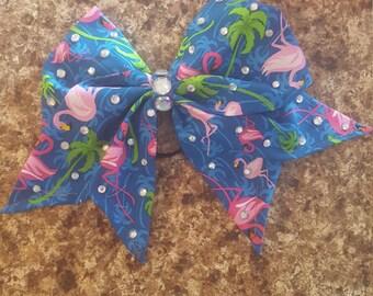 Flamingo hand sewn Summer Cheer Bow