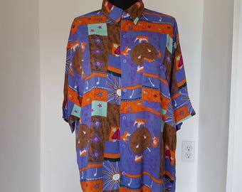 Vintage 80s 90s Mens Balinese Elephant Sun Moon Star Print Short Sleeve Button Down Shirt