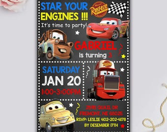 Disney Cars Invitation, Disney Cars Birthday, Disney Cars Party, Lightning McQueen Invitation, Disney Cars Invite, Cars Thank You Tag