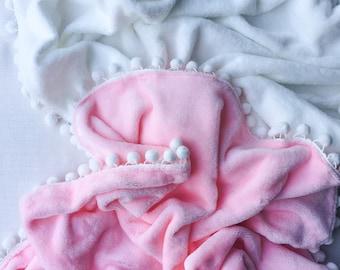 Super Soft Plush PomPom Swaddle Blanket, baby blanket, pom pom, pink, white