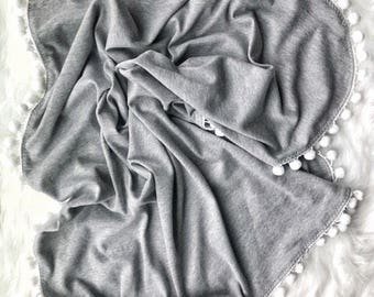 Light Grey Cotton PomPom Swaddle Blanket, baby blanket