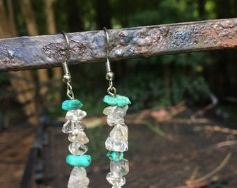 Clear Crystal with Blue Stone Dangle Earrings