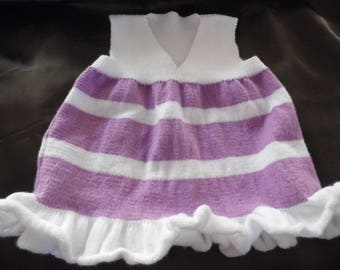 Baby knitted edge v-neck sleeveless dress with the needle. Size 9 months