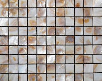 Mother of Pearl Tile for Kitchen Wall Backsplash Freshwater Shell Mosaic Tiles with Porcelain Base Bathroom Tiles