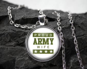 Army wife Glass Pendant military necklace army jewelry army wife gift photo pendant art pendant photo jewelry art jewelry glass jewelry