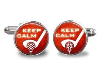 Golf cufflinks keep calm golfer cufflinks golfing cufflinks golf ball gift mens cufflinks glass cufflink silver cufflinks mens cuff links