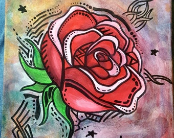 Rose on Canvas
