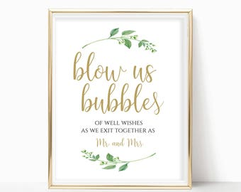 Printable Bubbles Sign Blow Us Bubbles Send Off Sign Wedding Mr Mrs Sign Blow Bubbles Of Good Wishes Sign Instant Download 4x6, 5x7, 8x10