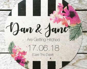 Save The Date - Stripes and Flowers - Round