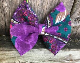 Purple Teal Flower Bow Clip/Baby Headband