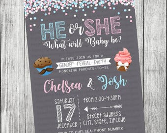 Cupcake or Stud Mufin Gender Reveal Invitation