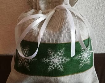 Chistmas gift bag with snowflakes