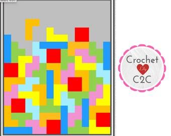 INSTANT DOWNLOAD - Tetris - Crochet Graph - Crochet Pattern - Blanket - Corner to Corner - C2C