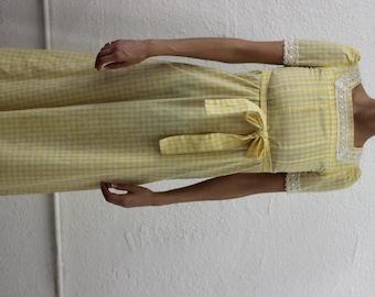 60s handmade yellow gingham dress