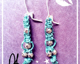 Turquoise hemp and silver beaded earrings