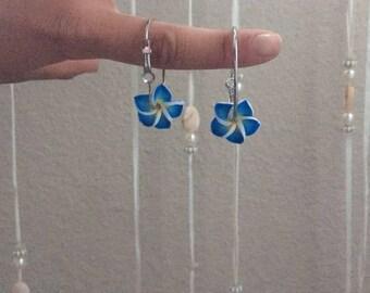 Hand made blue flower earrings