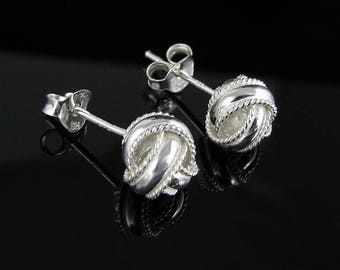 Braided Love Knot Stud Earrings