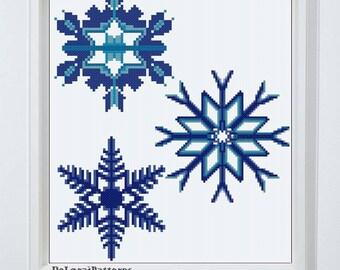 Snowflakes cross stitch pattern, Christmas cross stitch winter decoration ornaments wall hanging small tiny snowflake card, DIY snowflake