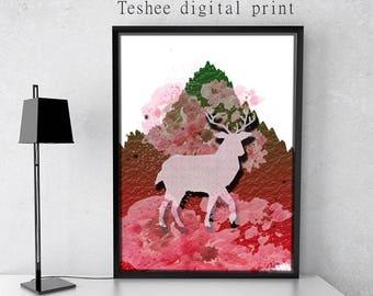 Printable art, Digital print, Deer, Red, Download jpg, Home decor, Wall decor, Wall art