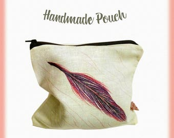 Handmade pouch, Linen pouch, Feather pouch, Toiletry bag, Make up bag, Cosmetics bag, Zipper pouch, Hand drawn pouch, Gift for her