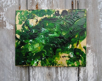 Green & Gold Abstract Acrylic Painting 4x4