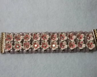 Signed Vintage LeRu Statement Bracelet with Pink Enameled Metal Flowers, Pink AB Rhinestone Centers and Lavender Beads