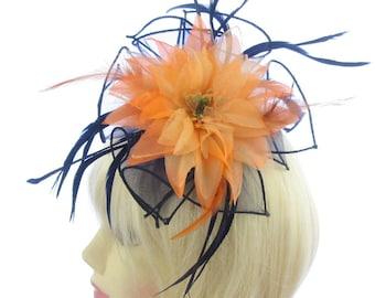 Navy and orange fascinator comb, weddings, races, ladies day