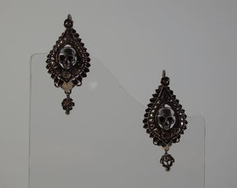 Unique Antique Georgian Ladies Gold And Silver Earrings With Diamonds And Memento Mori Skulls-18th Century