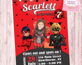Customized Miraculous Ladybug Invitation- Customize your Invitation with your child's picture!!!!!