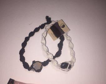 Black and white hemp bracelets
