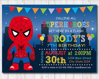Spiderman Invitation, Spiderman Birthday, Spiderman Party, Superhero  Invite, Superheroes Party, Chalkboard