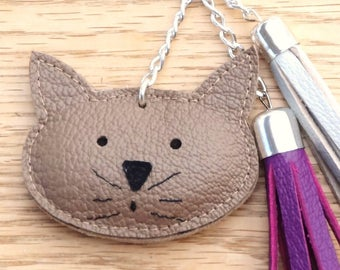Tassel and cat Brown taupe, purple and gray leather handbag