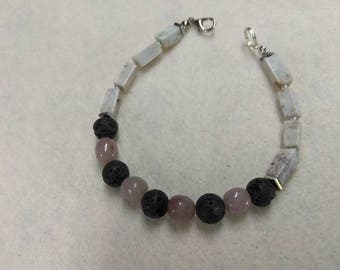 Lava Pink Jasper Crazy Lace Agate and Hematite Beaded Bracelet