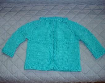 Handmade Knitted Blue Baby Sweater