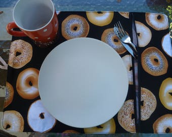 placemat, lunch, compartment, bagels pattern doily placemat