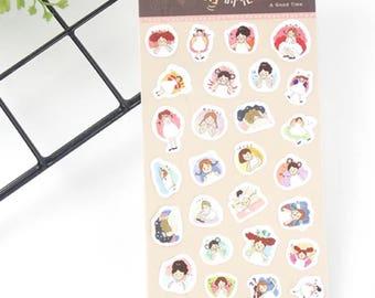A Good Time - Sticker Sheet, Cute Scrapbooking Stickers, Girl Sticker, Journal, Diary, Planner, Decoration Sticker