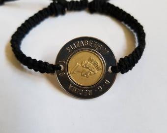 Coin Charm Hemp Bracelet