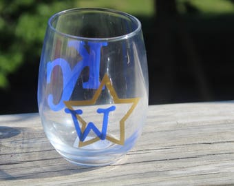 KC Royals Stemless Wine Glass handmade