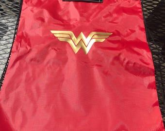 Wonder Woman themed draw string bag