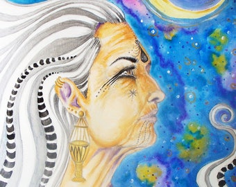Manat, Moon Goddess of Fate-Note Card