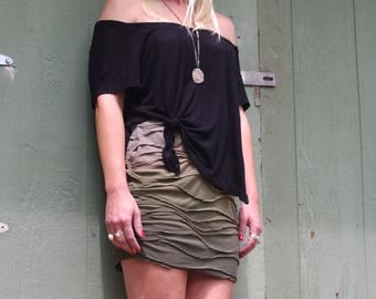 Ombre Dyed Green Mini Skirt
