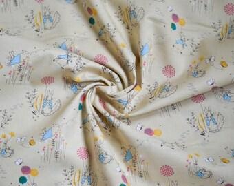 Peter Rabbit, Nursery Decor, Home Decor, Girls Dress, Rabbit Print, Wall Decor, Beatrix Potter, Quilting, Crafting, Cotton Fabric, Cream