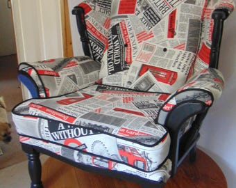 One off. JC & MF Smith newspaper print arm chair.